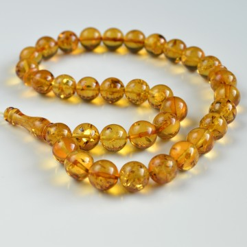 Baltic Amber Tespih Red Cognac Amber Misbaha 33 Beads 12 mm 34.5 g Handmade