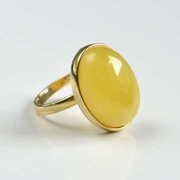 Milky White Yellow Baltic Amber Ring with Gold-plated Silver Pattern, Natural White Amber