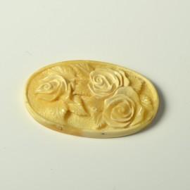 Antique White Carmel Butterscotch Baltic Amber Flowers Roses Sculpture Relief Hand Carved Butterscotch Amber Feng Shui Zodiac