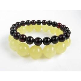 Red Cherry / Milky White Baltic Amber Bracelet Set 29.76 grams