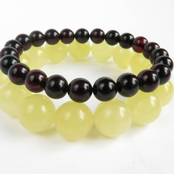 Red Cherry / Milky White Baltic Amber Bracelet Set 29.76 grams