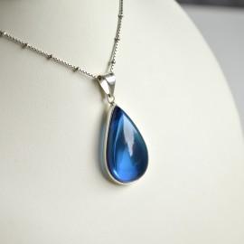 Blue Amber Pendant 925 Silver