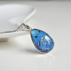 Blue Amber Pendant 925...