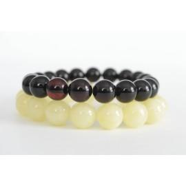 Red Cherry / Milky White Baltic Amber Bracelet Set 27.65 grams