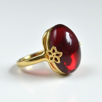 Red Baltic Amber Ring with...