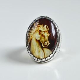 Baltic Amber Signet Ring...