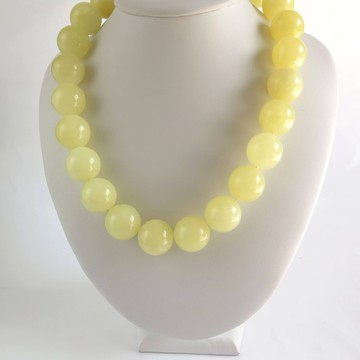 Milky White Baltic Amber Necklace 107.31 grams