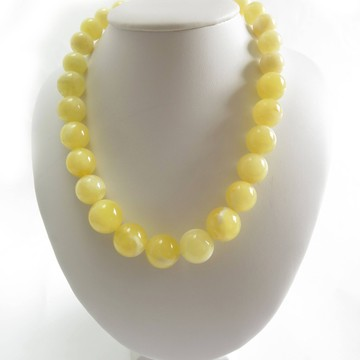 Milky White Baltic Amber Necklace 59.46 grams