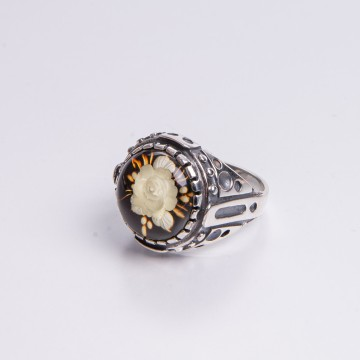 Amber Signet Ring with...