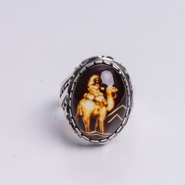 Natural Amber Signet Ring...