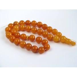 Baltic Amber Tespih Antique Color Misbaha 33 Beads 16 mm 80 g Handmade