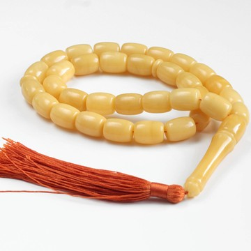 Light Butterscotch Color Baltic Amber Islamic Prayer Beads 33 Worry Beads 59 g 15 x 12 mm