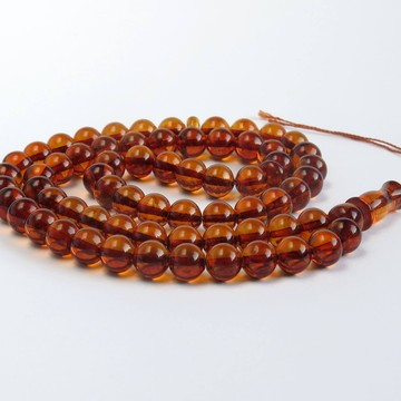 Milky white Baltic Amber prayer beads oval shape 45 beads 111.20 grams