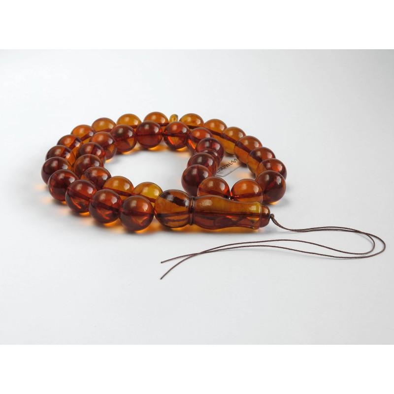 Egg Yolk Baltic Amber Prayer Beads  60.20 grams round beads 12.9 mm