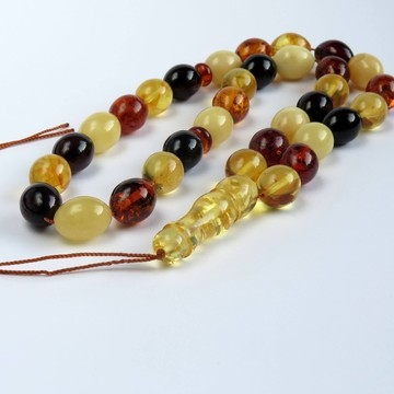 Egg Yolk Baltic Amber Prayer Beads 60.20 grams round beads 12.9 mm