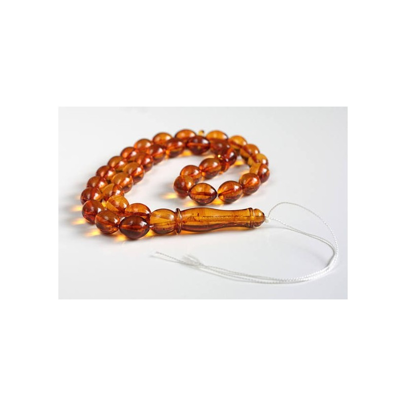 Misbaha Islam Rosary of Genuine Baltic Amber Cognac Color Beads 32 g Handmade