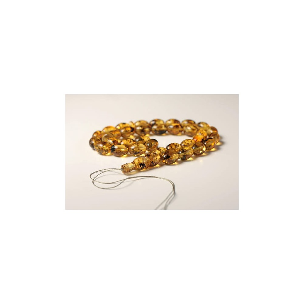 Misbaha Prayer - Baltic Amber Beads 29.93 grams olive beads light tea