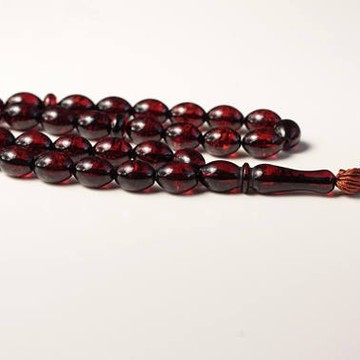 Baltic Amber Moslem Prayer Beads Olives Shape Red Cherry Color Chaplet 21.18 g