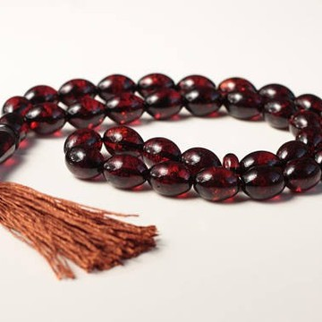 Baltic Amber Moslem Prayer Beads Olives Shape Red Cherry Color Chaplet 22 grams