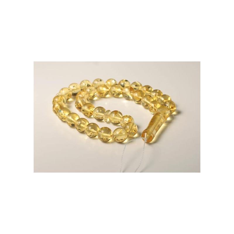 Tasbih Rosary of Baltic Amber Massive 13 mm Beads 45 g Yellow Amber Islamic Misbaha