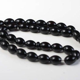 Baltic Amber Moslem Prayer Beads Olives Shape Red Black Cherry Color Chaplet 19.69 grams