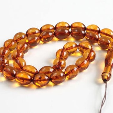 Misbaha Islam Rosary of Genuine Baltic Amber Cognac Color Beads 29.67 g Handmade