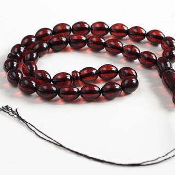 Baltic Amber Moslem Prayer Beads Olives Shape Red Cherry Color Chaplet 15.39 grams