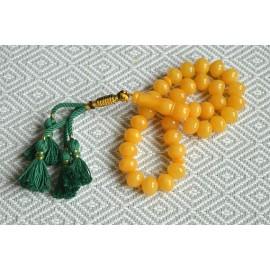 Baltic Amber Tespih Butterscotch Egg Yolk Color Misbaha 33 Beads 14 x 12 mm 63 g
