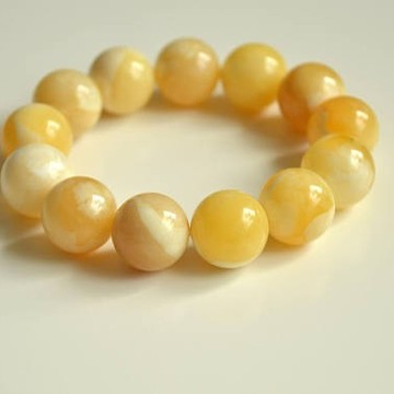 Pure Baltic Amber Bracelet 17 mm milky white color round beads handmade perfect gift