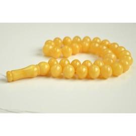 Baltic Amber Tespih Butterscotch Egg Yolk Color Misbaha 33 Beads 13 x 15 mm 58 g