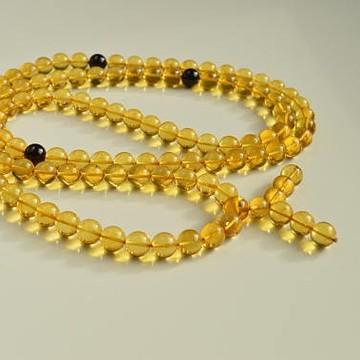 Mila Mala Rosary 12 mm Egg Yolk Cognac Yellow Buddhist Prayer Beads Baltic Amber