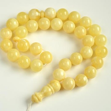 Intense Milky White Misbaha Rosary Pure 33 Baltic Amber Islamic Worry Beads 80 g