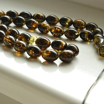 Baltic Amber Tespih Green Color Misbaha 33 Olive Beads 12 mm 59 g Handmade