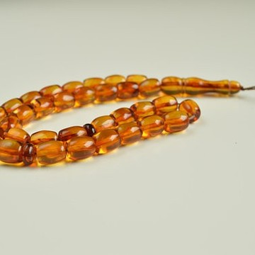 Misbaha Islam Rosary of Genuine Baltic Amber Cognac Color Beads 29.45 g Handmade