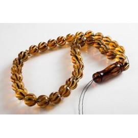 Misbaha Islam Rosary of Genuine Baltic Amber Cognac Color Beads Handmade