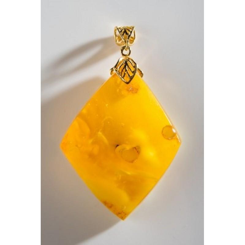 Unique Baltic Amber Pendant Butterscotch Goldplated Silver