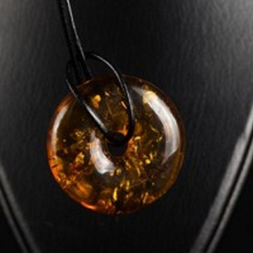 Unique Baltic Amber Pendant Cognac Donut
