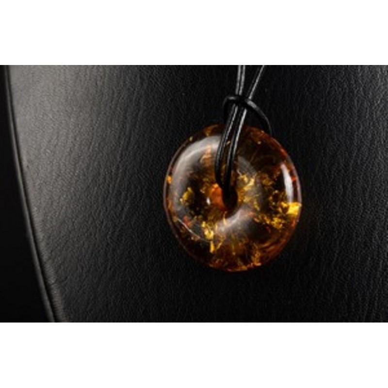 Unique Baltic Amber Pendant Cognac Donut