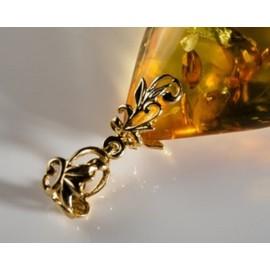 Unique Baltic Amber Pendant Cognac Goldplated Silver