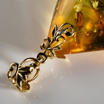 Unique Baltic Amber Pendant Cognac Goldplated Silver