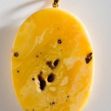Unique Baltic Amber Pendant Butterscotch Goldplated Silver