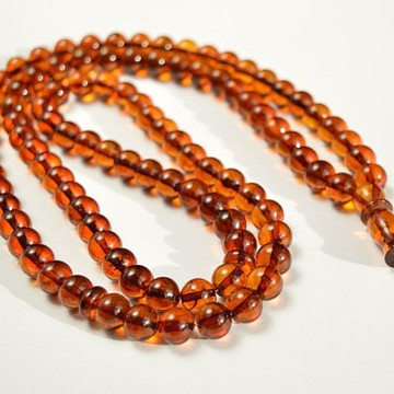 Baltic Amber Tespih Cognac Color Misbaha 99 Beads 9 mm 33.5 g Handmade