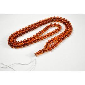 Baltic Amber Tespih Cognac Color Misbaha 99 Beads 9 mm 33.5 g Handmade