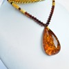 Unique Baltic Amber Necklace with big and rare Cognac color with shell Pendant 20.8 grams Drop Shape Handmade