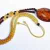 Unique Baltic Amber Necklace with big and rare Cognac color with shell Pendant 20 grams
