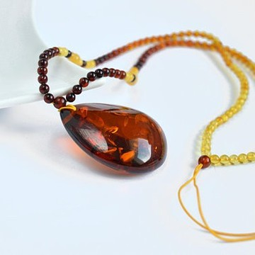 Unique Baltic Amber Necklace with big and rare Cognac color with shell Pendant 22.7 grams Drop Shape Handmade