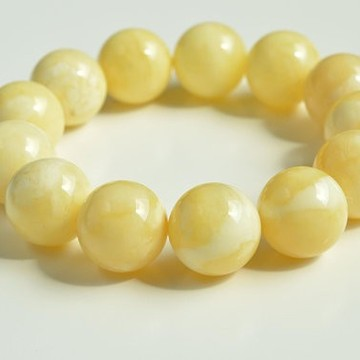 Pure Baltic Amber Bracelet 17.5 mm 39.9 g milky white color round beads handmade perfect gift
