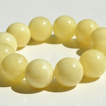Pure Baltic Amber Bracelet 20 mm 52.2 g milky white color round beads handmade perfect gift