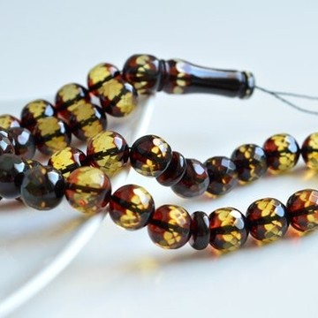Faceted Handmade Baltic Amber Tespih Cherry Yellow Color Misbaha 33 Beads 12 mm 41.5 g Handmade Diamond Cut Baltic Amber Rosary