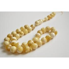 Intense Milky White Misbaha Rosary Pure 33 Baltic Amber Islamic